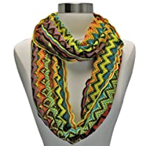 Luxury Divas Orange Yellow Multi Color Zigzag Chevron Knit Infinity Circle Scarf