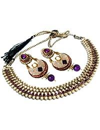 Glittering World Designer Purple Alloy Choker Necklace And Earrings For Women
