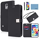 galaxy s5 case,By Ailun,Wallet Case,PU Leather Case,Cut,Credit Card Holder,Flip Cover Skin[Black],with Screen protector with Styli Pen