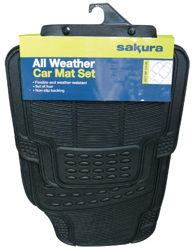 Sakura SS3601 Universal Rubber Car Mat Set with Trim to Fit Lines