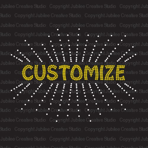 clear starburst iron on rhinestone transfer with custom name or word by jubilee rhinestones
