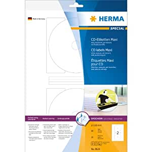 Herma 8624 CD-Etiketten MaxiA4 Ø116 mm Papier matt blickdicht 20 Stück