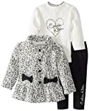 Calvin Klein Baby-Girls Infant White Printed Jacket With Tee And Pant