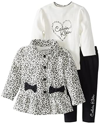 Calvin Klein Baby-Girls Infant White Printed Jacket With Tee And Pant, Black, 12 Months