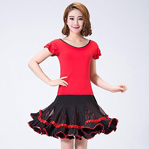 FELONG qfl Set Net Garn von Frühjahr bis Sommer of Latin Square Dance Kleidung T Shirt Pailletten-Röcke XXL rot