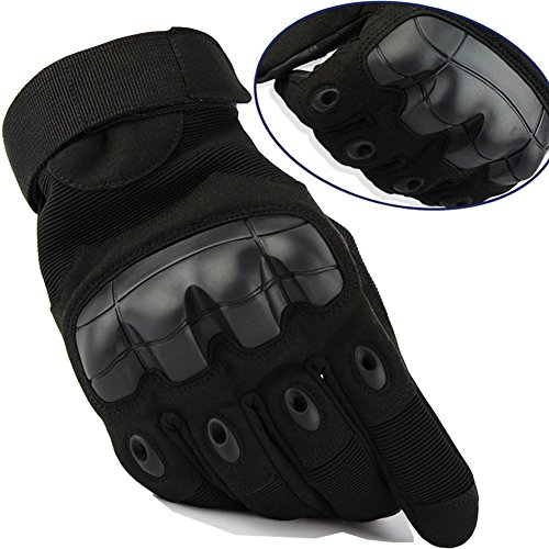 HappyGo Hard Knuckle Tactical Gloves Full Finger Motorcycle Gloves Touch Screen for Outdoor Driving Riding Shooting Biking (Black, Small)