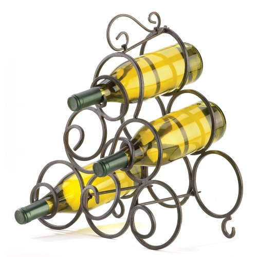 Gifts & Decor Wrought Iron Scrollwork Spiral Wine Bottle Rack Stand front-655305