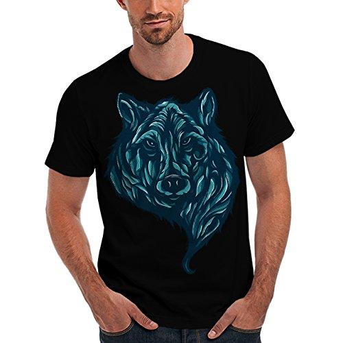 Wellcoda | Lone Grey Wild Wolf Mens NEW USA Animal Black T-shirt 2XL