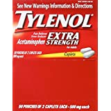 Tylenol(R) Extra-Strength, 2-Caplet Dosage, 100 caplets total,500mg each