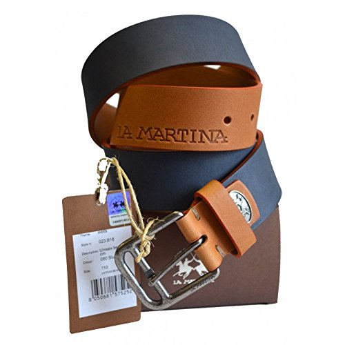 Cintura Pelle La Martina Uomo Men Belt Pelle 100% Leather Blu 023B08 Size 110