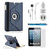 Gearonic TM iPad Mini 5-in-1 Accessories Bundle Rotating Case for Business and Travel, Dark Blue