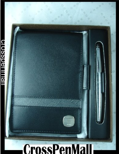 Cross Premium Italian Black Leather Jotter and Matching Pen