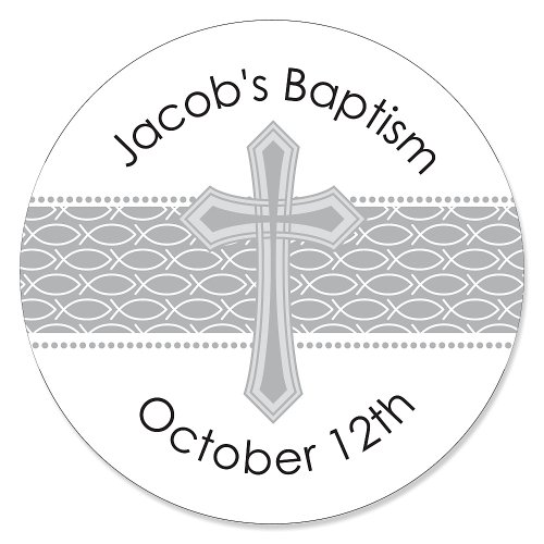 Delicate Blessings Cross - Personalized Baptism Sticker Labels - 24 Ct front-804402