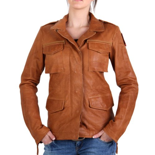PARAJUMPERS Damen Sommer Lederjacke Jenny Leather Cognac Brown LE02