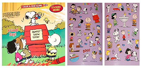 Peanuts Color and Read Along Book with Stickers - A Good Day! - 1