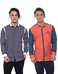 Apris Mens Casual Combo Shirts-BLUE-RED (S-3227-3321) (L)