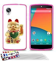 buy Genuine Extra-Slim Flexible Hot Pink Case Maneki Neko Japan By Muzzano For Google Nexus 5 + 3 Ultraclear Screen Protector