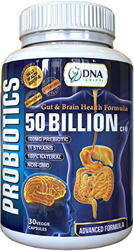 DNA Shift® LIVE NATURAL Probiotic 50 Billion CFU + Prebiotic Gut & Brain supplement best for Men & Women to Support Candida Yeast Infection Stomach IBS Indigestion Constipation Diarrhea Bloating Gas
