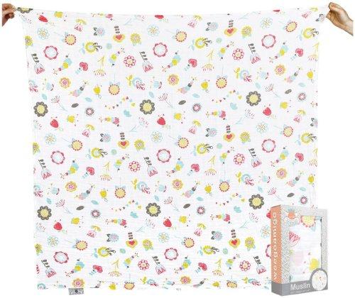 Weegoamigo Baby Muslin Swaddle Blanket - Floral Metric, Pink - 1