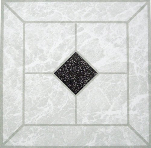 100 SELF ADHESIVE VINYL FLOOR TILES Black/White Diamond