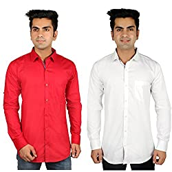 Nimegh Red, White Color Cotton Casual Slim fit Shirt For men's (Pack of 2)