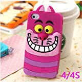 Lovestal Cute Cartoon 3D Disney Monster University Animals Soft Silicone Back Cases Covers for Apple iPhone 4/4S (The Cheshire cat) + 1psc Lovestal Wristband