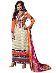 Mantra Fashion Cream Cotton Fabric Floral Resham Thread Embroidery Work Straight Salwar Kameez