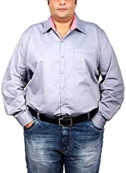 Xmex Men's Cotton Silk Regular Fit Shirt (KR-264GREY_3XL, Gray, 3X-Large)