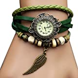 Sannsis 1PC Green Vintage Womens Leather Quartz Wing Beads Wrist Watches