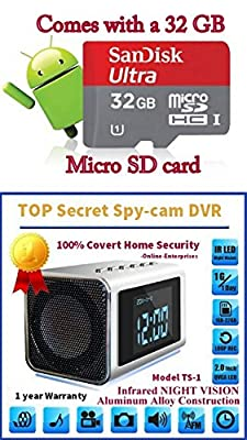 TOP Secret Spy Camera Mini Clock Radio w/32Gb Class 10 Micro Sd Card included. Hidden DVR- Continuous power or battery power.