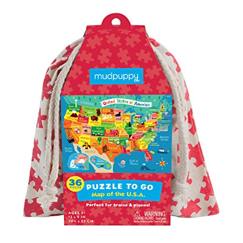 Mudpuppy Map of The U.S.A. to Go Puzzle (36 Piece)