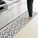 キッチンマット 北欧 幾何学模様 洗える おしゃれ 裏面 すべらない 肌触り (45×240cm, グレー)