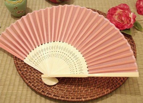 BalsaCircle 50 pcs Decorative Silk Fabric Folding Hand FANS Wedding Favors  - Pink