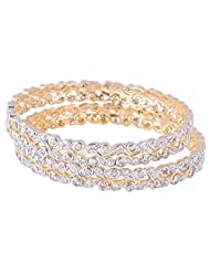 Bharat Sales Gold Plated White Alloy Bangles For Women - B00YPATL7Y