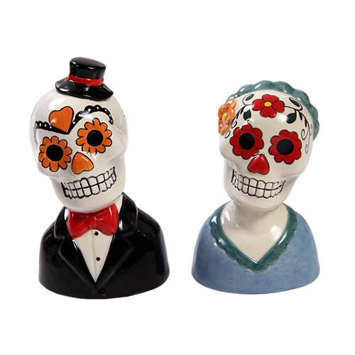 Mexican Traditional Wedding Couple Sugar Skulls Day Of The Dead