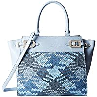 Nine West Gleam Team Large Satchel Women's Handbag (River Blue)