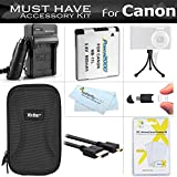 Must Have Accessory Kit For Canon PowerShot ELPH 340 HS 16MP Digital Camera Includes Extended Replacement (900maH) NB-11L Battery + Ac/Dc Travel Charger + Micro HDMI Cable + Case + Mini Tripod + More