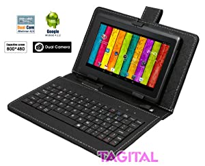 """Tagital® 7"""" Android 4.2 4GB Capacitive Touch Screen A23 Tablet Dual Core Dual Camera Bundle Keyboard Black"""