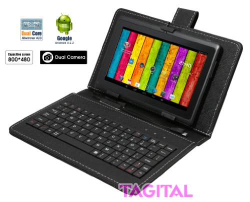 [tablet],Tagital® 7 inch Android 4.2 4GB Capacitive Touch Screen A23 Tablet Dual Core Dual Camera Bundle Keyboard Black