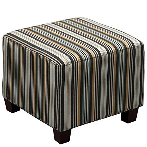 Skyline Furniture Square Ottoman in Jordan Stripe Indigo (Skyline Outdoor Furniture compare prices)