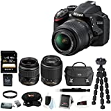 Nikon D3200 w/ 18-55 and 55-200mm Lenses (Black) and Gadget Bag + 32GB Memory Card + 52mm UV Protector + Accessory Kit