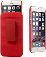 iXCC ® Ascend Series [Kickstand] Slim Hard PC Shell [Heavy Duty] Full Body Protection Slidable Cover Case [ Anti drop, Anti scratch, Anti slip, Anti shock ] with Kick-Stand Feature for Hands-Free Video Watching and Holster clip swivel for iPhone 6 (4.7-inch) [Red]
