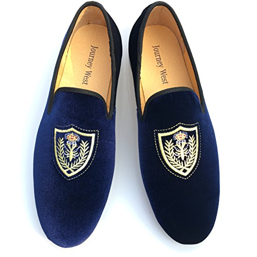 Vintage da uomo in velluto ricamato scarpe Noble passante-Smoking-Pantofole a mocassino, colore: nero/rosso/blu, Blu (blu), 44