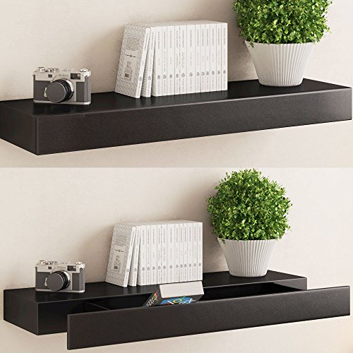 Black Floating Wall Shelf with Drawer , Concealed Mounting Bracket and Hardware Included, Ships Fully Assembled ...