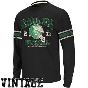 Philadelphia Eagles 11 Black Vintage Applique Long Sleeve Shirt by Reebok by Reebok