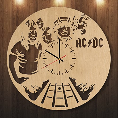 ACDC-HANDMADE-Natural-Wood-Wall-Clock-Get-unique-garage-wall-decor-Gift-ideas-for-men-boys-and-girls-Rock-Music-Unique-Art-Design-Leave-us-a-feedback-and-win-your-custom-clock