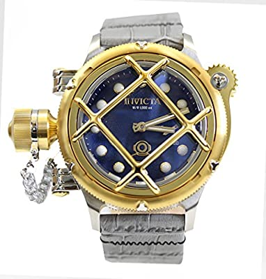 Invicta Mens LEFTY Russian Diver NAUTILUS Swiss Mechanical Cage Blue Dial Leather Watch 16204