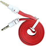 niceeshop(TM) Red 3.5mm Male to Male Flat Noodle Audio Extension AUX Cable Adapter for Pc Phone Car iPods