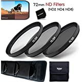 72MM Professional 3 Piece Neutral Density FILTER SET - ND2 ND4 ND8 + Protective Wallet Case + Ultra Fine HeroFiber...