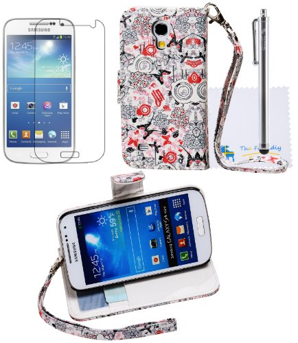 The Friendly Swede Basics - Samsung Galaxy Siv Mini S4 Mini I9190 / I9192 / I9195 / I9198 Pu Leather Stand Wallet Case Cover + Matching Stylus + Screen Protector + Cleaning Cloth (Butterfly And Flower)